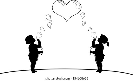 Cartoon silhouette of a small boy and girl children blowing soap bubbles to form a heart.