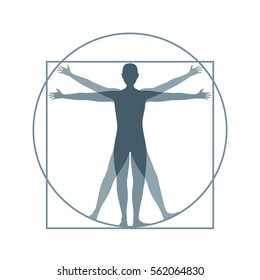 Cartoon Silhouette Vitruvian Man Proportion, Human Anatomy. Flat Design Style. Vector illustration