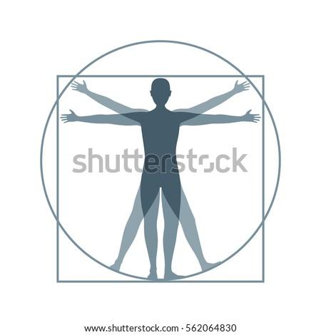 Cartoon Silhouette Vitruvian Man
