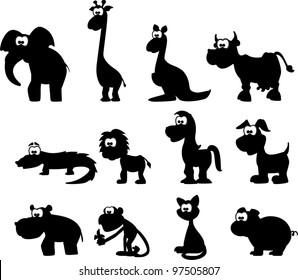 Cartoon silhouettes of animals