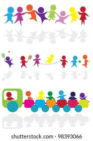 cartoon silhouettes children for children activity, fun and play