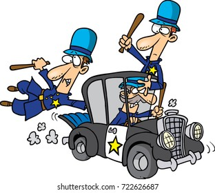 cartoon silly and incompetent police officers
