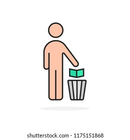 cartoon simple man and trash can. flat outline trend modern logotype graphic art lineart design element isolated on white background. concept of hand throws away garbage to container for recycle