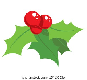 Cartoon simple mistletoe decorative red and green ornament