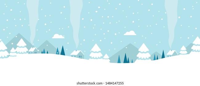 Cartoon simple winter landscape. Christmas Landscape background. Vector