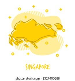 Cartoon Singapore Map