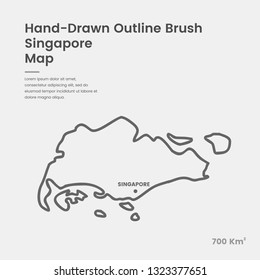 Cartoon Singapore Map, Hand Drawn Singapore Map, Doodle Singapore Map Vector Outline Style Map Information