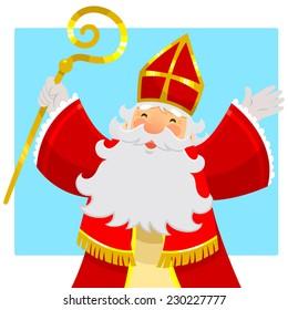cartoon Sinterklaas or Saint Nicholas smiling and raising his hands