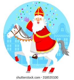 cartoon Sinterklaas (St. Nicholas) riding his horse