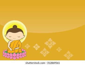 Cartoon Sithata Monk concentration green background Buddha Jayanti