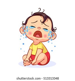Cartoon sitting and crying little baby boy with mouth wide open. Colorful vector illustration of emotion isolated on white background.