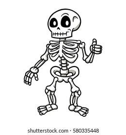 Cartoon Skeleton Giving a Thumbs Up Vector Illustration