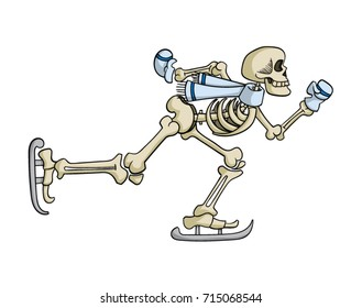 Cartoon skeleton ice skating