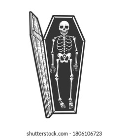 cartoon skeleton in an open coffin sketch engraving vector illustration. T-shirt apparel print design. Scratch board imitation. Black and white hand drawn image.