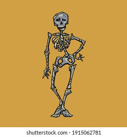 Cartoon skeleton stands in a free pose