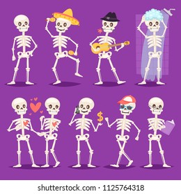 Cartoon skeleton vector bony character mexican musician or lovely couple with skull and human bones illustration skeletal set of dead people dancing or bathing isolated on background