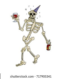 Cartoon skeleton wearing a party hat drinking wine