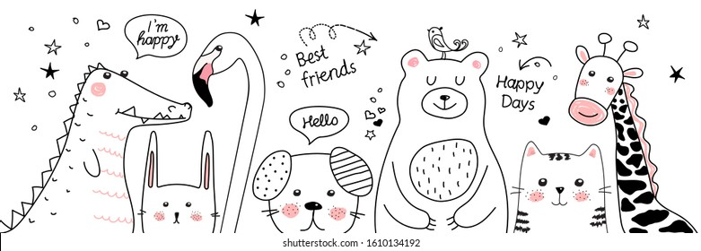 Cartoon sketch animals illustration. Doodle. The best friends are bear, crocodile, cat, dog, flamingo, rabbit, giraffe for t-shirt print, textile, patch, kid product,pillow, gift. The black. Vector.
