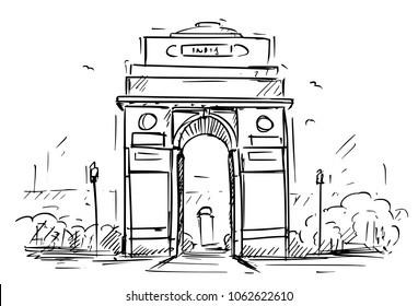 Cartoon sketch drawing illustration of India Gate in New Delhi, India.