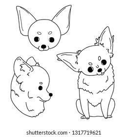 Cartoon sketches of chihuahua drawn by hand. Vector illustration on white background in simple style. Free hand drawing of cute little dogs.