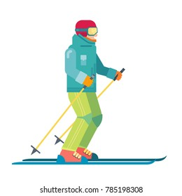 Cartoon skier  isolated. Skiing sportsman character in ski suit vector illustration. Smiling man on skis.