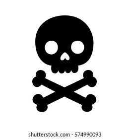 Cartoon skull and bones silhouette. Isolated vector illustration.