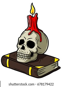Cartoon Skull With Candle On Book
