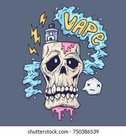 cartoon skull exhales steam. Illustration for vape industry