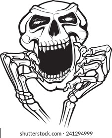 A cartoon skull and hands. Layered vector file available. Laughing Skull.
