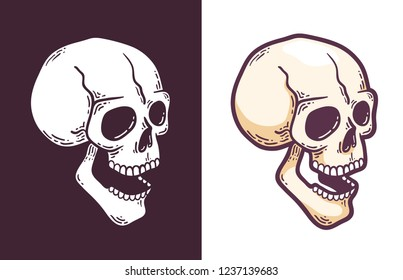 Cartoon skull with open mouth perspective view. Retro style vector illustration.