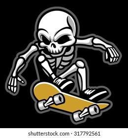 cartoon of skull ride a skateboard