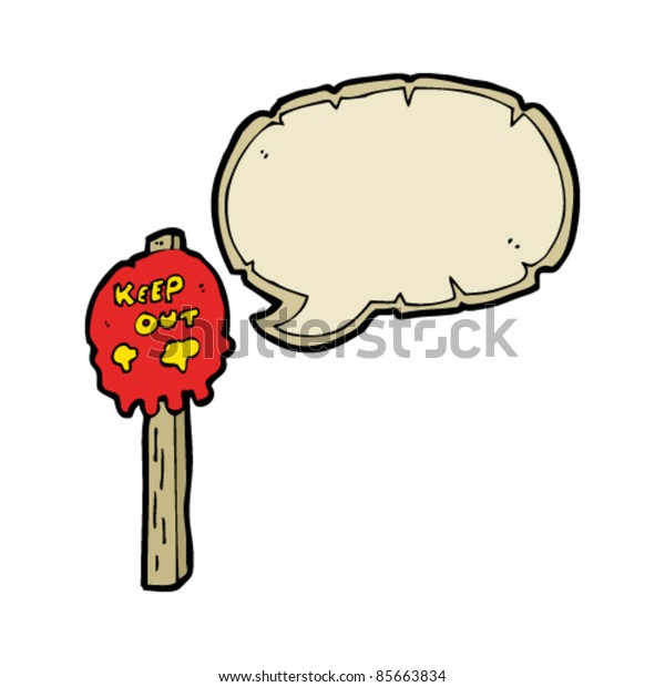 cartoon skull signpost with speech bubble