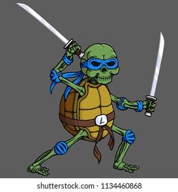 cartoon skull turtle ninja