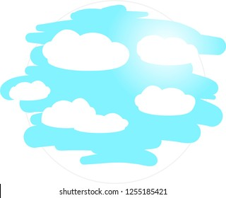 Cartoon sky with flat clouds vector in round frame isolated on white background.