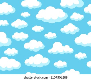 Cartoon sky pattern. Blue skyline vector seamless background with white nubes clouds for spring decoration wallpapers