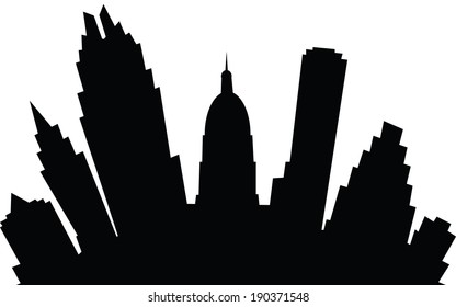 A cartoon skyline silhouette of the city of Austin, Texas, USA.