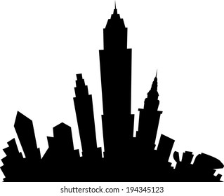 Cartoon skyline silhouette of the city of Cleveland, Ohio, USA.