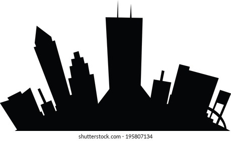 Cartoon skyline silhouette of the city of Jacksonville, Florida, USA.