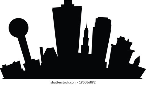 Cartoon skyline silhouette of the city of Knoxville, Tennessee, USA.