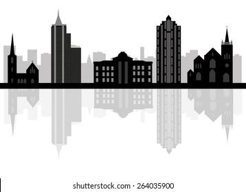 Cartoon skyline silhouette of the city of Raleigh, North Carolina
