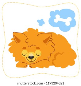 Cartoon sleeping dog: pomeranian Spitz. Vector illustration. Isolated on white background.
