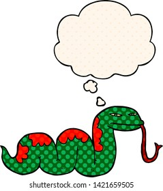 cartoon slithering snake with thought bubble in comic book style