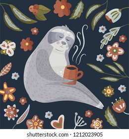 Сute cartoon sloth drinking coffee. Lazy bear round vector illustration in a flat style. Animal kids vector card with floral elements.
