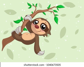 cartoon sloth hanging on a branch