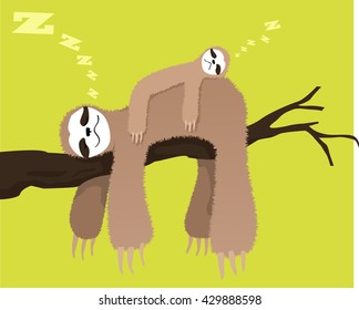 Cartoon sloth sleeping on a branch with a baby sloth on his back, EPS 8 vector illustration, no transparencies