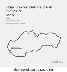 Cartoon Slovakia Map, Hand Drawn Slovakia Map, Doodle Slovakia Map Vector Outline Style Map Information