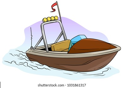 Cartoon small brown motor boat on the sea with red flag and radio antenne. Vector icon.