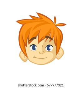 Cartoon small red hair boy. Vector illustration of young teenager outlined. Boy head icon