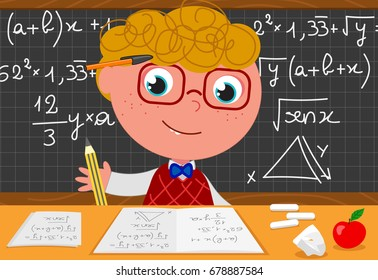 Cartoon smart boy with black board full of maths equations. Vector illustration