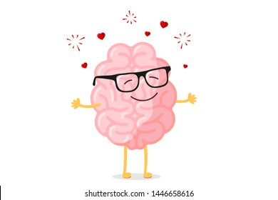 Cartoon smart happy brain character in glasses fall in love. Central nervous system organ romantic mascot funny vector illustration